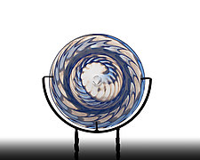 Transparent Blue Clam Shell Plate by The Glass Forge (Art Glass Platter)