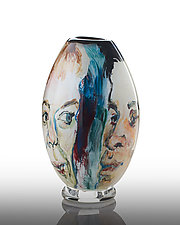 Face Off Graal Vase by The Glass Forge (Art Glass Vase)