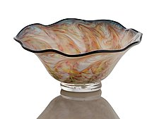 Multi-Colored Clam Shell Bowl by The Glass Forge (Art Glass Bowl)