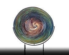 Earthtone Aqua Swirl Plate by The Glass Forge (Art Glass Platter)