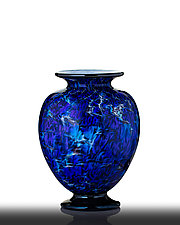Cobalt Blue Flared Vase with Black Foot by The Glass Forge (Art Glass Vase)