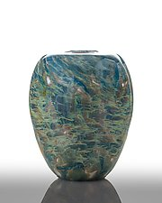 Aqua Swirled Vase by The Glass Forge (Art Glass Vase)