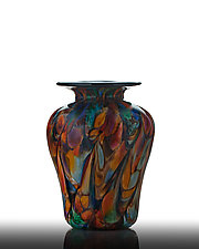 Earth Tone Rainbow Classic Vase by The Glass Forge (Art Glass Vase)