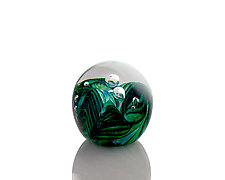 Green Trailed Paperweight by The Glass Forge (Art Glass Paperweight)