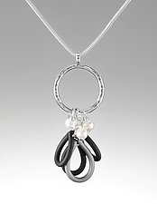 Meditation by Lonna Keller (Silver, Pearl & Rubber Necklace)