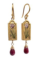 Tulip Earrings with Ruby by Christina Goodman (Mixed Media Earrings)