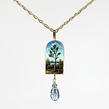 Painted Tree Pendant Necklace with Aquamarine by Christina Goodman (Mixed-Media Necklace)