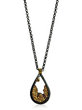 Terra Droplet Pendant Necklace by Jenny Reeves (Gold, Silver & Stone Necklace)