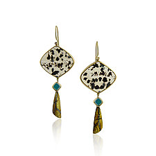 Montana Agate Wing Drop Earrings by Jenny Reeves (Gold, Silver & Stone Earrings)