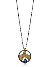 Terra Shield Pendant Necklace by Jenny Reeves (Gold, Silver & Stone Necklace)