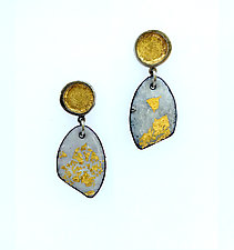 Organica Enamel Earrings #12 by Jennifer Bauser (Gold, Silver & Enamel Earrings)