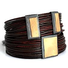 Organica Wrap Bracelet #17 by Jennifer Bauser (Gold, Silver & Leather Bracelet)