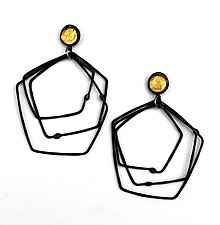 Organica Earring #41 by Jennifer Bauser (Gold & Silver Earrings)