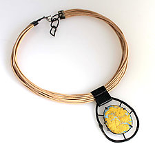 Organica Enamel Necklace #22 by Jennifer Bauser (Gold, Leather & Enamel Necklace)