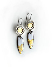 Organica Enamel Earring 9 by Jennifer Bauser (Gold & Silver Earrings)