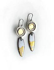 Organica Enamel Earring 9 by Jennifer Bauser (Gold & Silver Earrings)