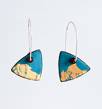 Organica Enamel Earrings #20 by Jennifer Bauser (Gold, Silver & Enamel Earrings)