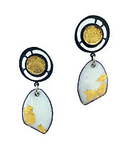 Organica Enamel Earring #17 by Jennifer Bauser (Gold, Silver & Enamel Earrings)
