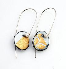 Organica Enamel Earring #21 by Jennifer Bauser (Gold & Enamel Earrings)