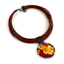 Organica Enamel Necklace #17 by Jennifer Bauser (Gold, Leather & Enamel Necklace)
