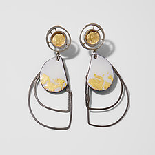 Organica Enamel Earrings #5 by Jennifer Bauser (Gold & Silver Earrings)