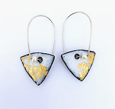 Organica Enamel Earrings #20 by Jennifer Bauser (Gold, Silver & Enamel Earrings)