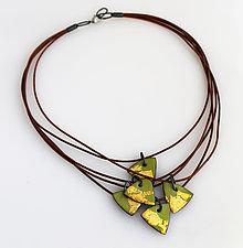Organica Enamel Necklace #7 by Jennifer Bauser (Gold & Silver Necklace)