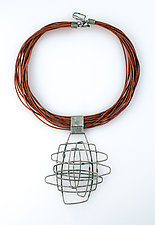Organica Necklace #22 by Jennifer Bauser (Silver & Leather Necklace)