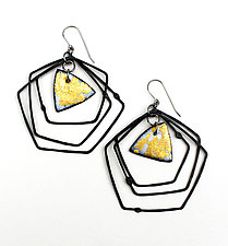 Organica Enamel Earrings #35 by Jennifer Bauser (Gold & Silver Earrings)