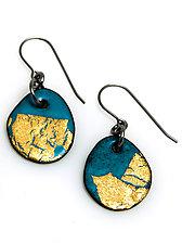 Organica Enamel Earrings #31 by Jennifer Bauser (Gold & Enamel Earrings)