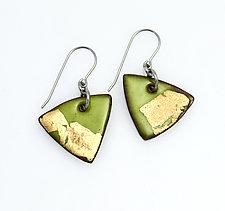 Organica Enamel Earrings #30 by Jennifer Bauser (Gold & Enamel Earrings)