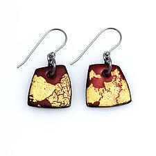 Organica Enamel Earrings #32 by Jennifer Bauser (Gold & Enamel Earrings)