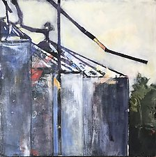 Silo 2 Along the Tracks by Suzanne DeCuir (Oil Painting)