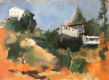 Cliffside Houses by Suzanne DeCuir (Oil Painting)