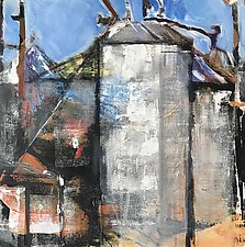 Silo 1 Along the Tracks by Suzanne DeCuir (Oil Painting)