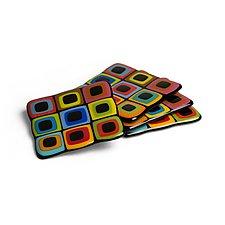Liquorice Allsorts Style Coaster Set by Helen Rudy (Art Glass Coasters)