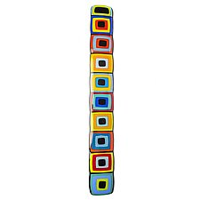 Carnival Story Pole with Black Centers by Helen Rudy (Art Glass Wall Sculpture)