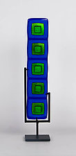 Royal Blue and Blue Gold Totem by Helen Rudy (Art Glass Sculpture)