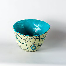 Turquoise Giraffe Pattern Vessel by Helen Rudy (Art Glass Vessel)