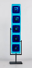 Turquoise and Cobalt Totem by Helen Rudy  (Art Glass Sculpture)