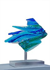Leaping Fish by Cathy Shepherd (Art Glass Sculpture)