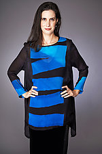 Plank Swallowtail Tunic in Turquoise and Cobalt by Michael Kane  (Shibori Tunic)