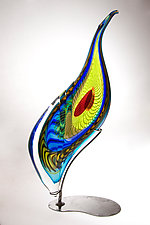 Peacock Sculpture by Mike Wallace (Art Glass Sculpture)