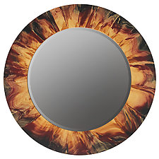 Large Eclipse Mirror by Ingela Noren and Daniel  Grant (Wood Wall Mirror)