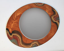 Asymmetric Brown Sage Mirror by Ingela Noren and Daniel  Grant (Wood Mirror)
