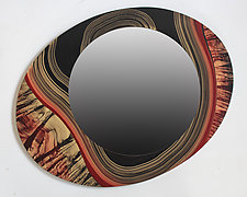 Asymmetric River Tiger Mirror by Ingela Noren and Daniel  Grant (Wood Mirror)