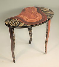 Bean River Tiger Table by Ingela Noren and Daniel  Grant (Wood Side Table)