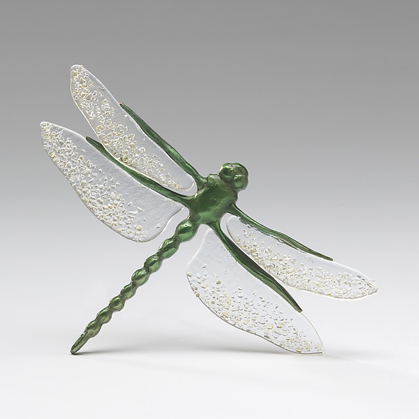 Vibrant Green Dragonfly with Clear Tinted Wings