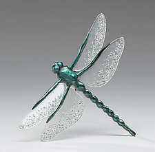 Vibrant Blue Dragonfly with Textured Clear Wings by Sandy Graves (Art Glass & Bronze Sculpture)