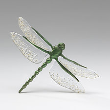 Vibrant Green Dragonfly with Clear Tinted Wings by Sandy Graves (Art Glass & Bronze Sculpture)